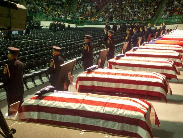 West, Texas memorial caskets in row April 2013