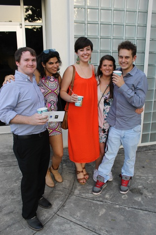 Bob Broussard, from left, Elena Sofia, Katie Briggs, Hayley Hoaglund and Sean Harkins at the Lawndale Big Show preview party July 2014