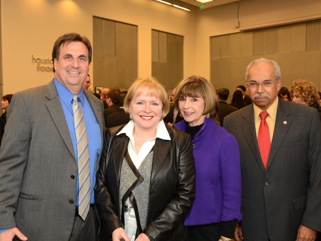 5 Brian Greene, from left, Leila Perrin, Helen Perry and Morris Fountain at the mayoral inauguration reception at the Houston Food Bank January 2014