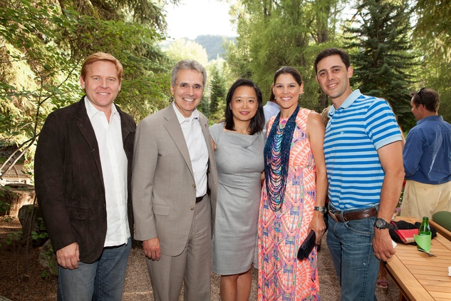 Randall Bone, from left, Dr. Ron DePinho, Dr. Lynda Chin and Estela and David Cockrell at M.D. Anderson in Aspen July 2014