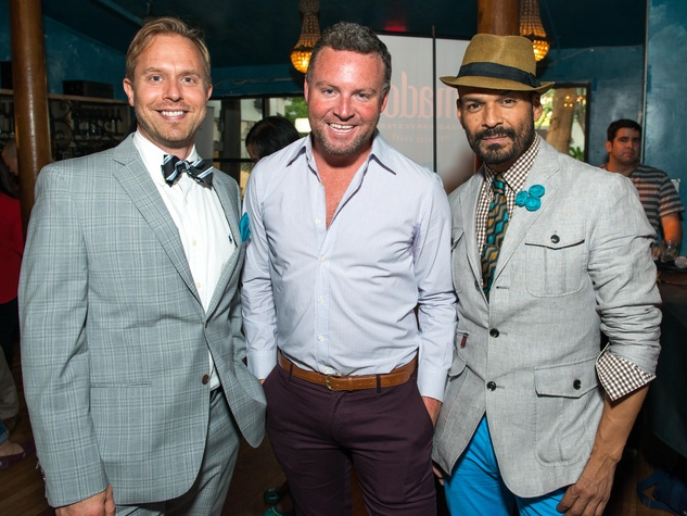 19 Michael Broderick, from left, Travis Shirley and Todd Ramos at the CultureMap Summer Social July 2014