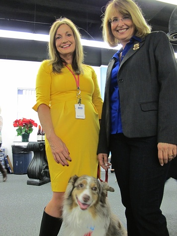 "10. L to R - Patricia Mercer, President of the Houston SPCA, her adopted Australian Shepherd ""Joey"" and Sharon Schmalz, Executive Director of The Wildlife Center of Texas Katie Oxford Wildlife Center of Texas December 2014"