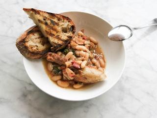 Launderette lunch dish duck confit cassoulet 2015
