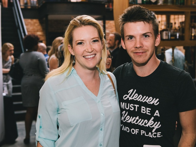 Meghan Caulket and Garret Hudson at the Houston Symphony Young Professionals Backstage kick-off party