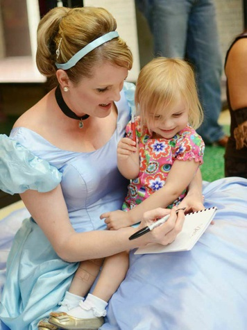 Cinderella and little girl at Texas Scottish Rite Hospital for Children Character Breakfast
