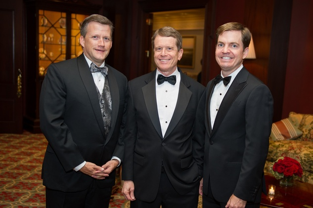 Trey Peacock, from left, Dean R. Gladden and Steve Morse at the Alley Theatre Wild Things Dinner October 2014