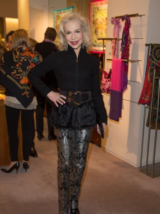 Lynn Wyatt at Kermit Oliver at Hermès February 2014