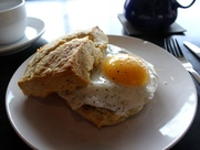 Blacksmith Coffee scratch square biscuit with egg and sausage