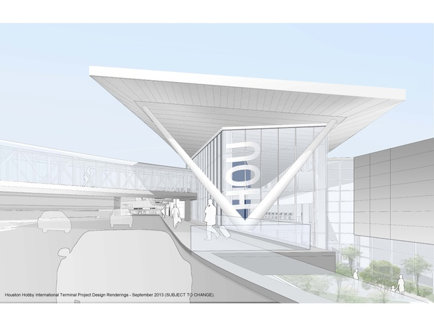 3 Hobby Airport terminal design rendering approach from new roadway