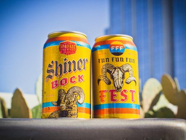 Fun Fun Fun Fest 10 Shiner Bock beer cans 2015
