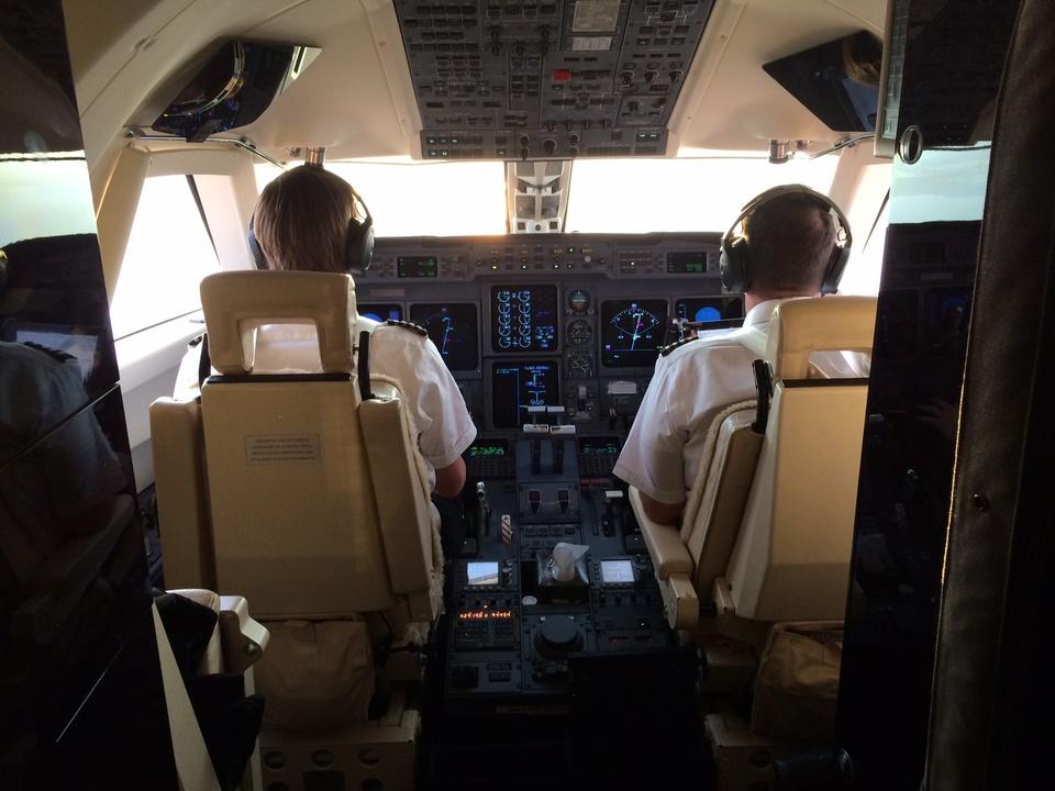 Pilots on Tilman Fertitta Gulfstream GV May 2014