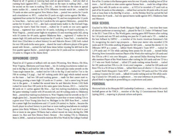 Texas Longhorns 2014 football media guide mispelling TexsaSports.com