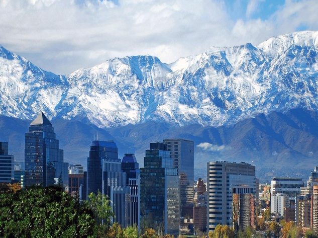 Santiago, Chili skyline with snow-covered mountains in background