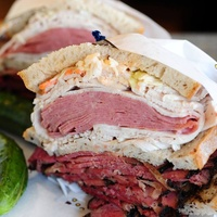 Kenny & Ziggy's Fiddler on the Roof of My Mouth sandwich Corned beef, pastrami, slaw & Russian dressing