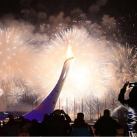 Olympic flame at Fischt Stadium in Sochi Russia during opening ceremony