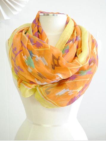 the impeccable pig orange tribal scarf
