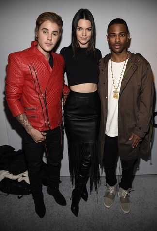 Justin Bieber, Kendall Jenner, and Big Sean pose backstage at the adidas Originals x Kanye West YEEZY SEASON 1 fashion show