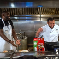 Houston, Kitchen Throwdown with Whitney Mercilus, Jan 2017, Whitney Mercilus, Chef Sabin Lomac