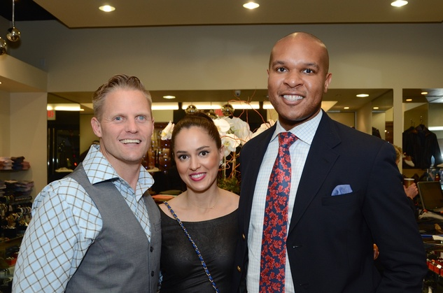 Heath LaPray, from left, Ana Paredes and Travis Torrence at the Festari Holiday Party December 2014