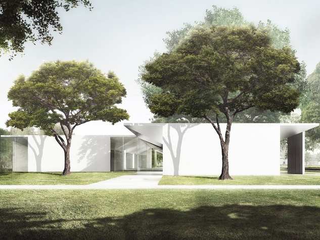 5.  The Menil Drawing Institute, west façade as seen from the Energy House CROPPED
