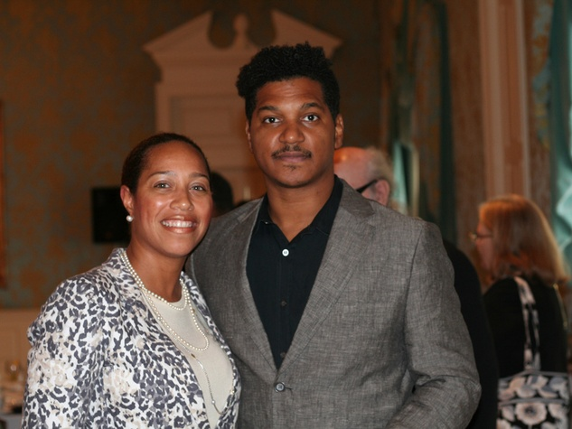 040 Reagan Flowers, left, and Angelbert Metoyer at the Community Artists' Collective's luncheon September 2014