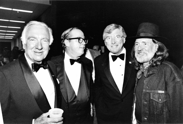 Walter Cronkite, Mark White and Willie Nelson