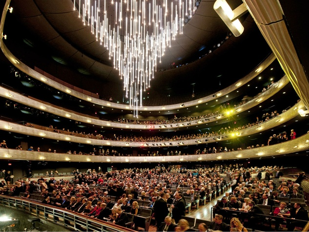 The retractable chandelier at the Winspear Opera House in Dallas.
