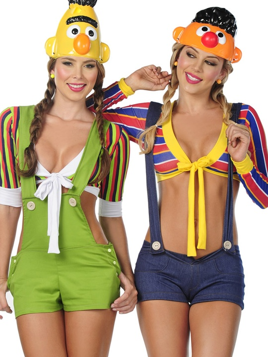 Halloween costumes, sexy costumes, Bert and Ernie, overalls, October 2012