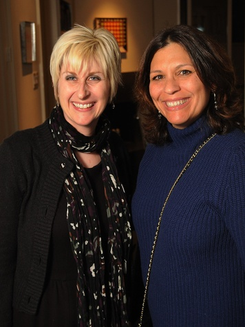 14 Nicole Longnecker, left, and Mae Levitanat the Art Circle launch October 2013