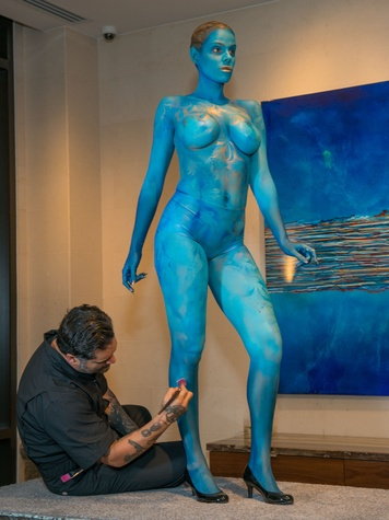 7 Painted model at the JW Marriott Houston Grand Opening November 2014