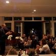 Jason Moran speaking to the crowd at the Da Camera Jason Moran launch party September 2014