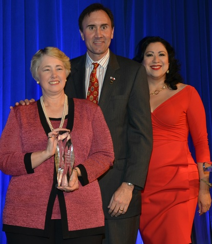 Mayor Annise Parker, from left, Pete Olson and Dr. Laura Murillo at the Houston Hispanic Chamber of Commerce luncheon & business expo April 2015