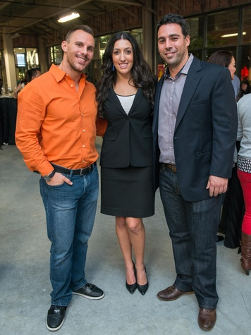 20 Bryan Dunlap, from left, Erika Amjadi and Mike Hopkins at the CultureMap Social at Gateway November 2014
