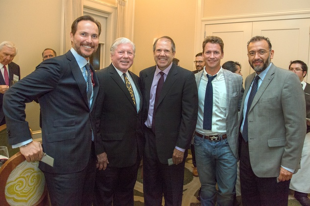44 Jonathan Brinsden, from left, Doug Goff, Ric Campo, Ryan McCord and Arturo Chavez at the Urban Land Institute Houston mixer October 2014